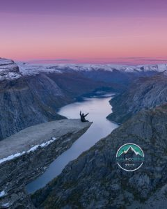 Man And Drone in Norway, TrollTunga
