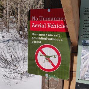 No Drone Sign in Alberta Provincial Park, Canada